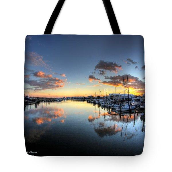 Bass Harbor Sunset Tote Bag by John Loreaux