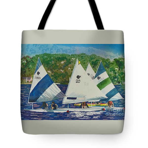 Tote Bag featuring the painting Bass Lake Races  by LeAnne Sowa