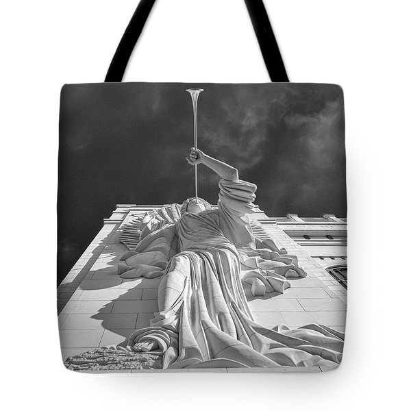 Tote Bag featuring the photograph Bass Performance Hall Angel by Guy Whiteley