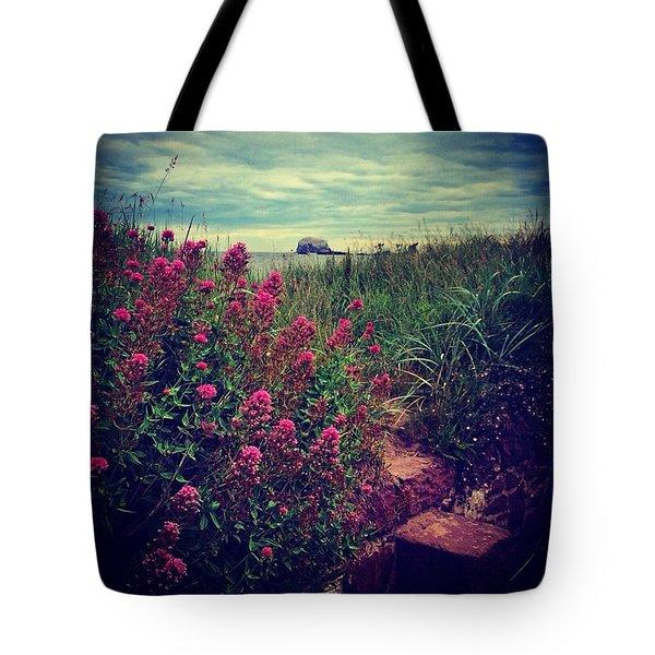 Bass Rock Flower Shot - North Berwick Tote Bag