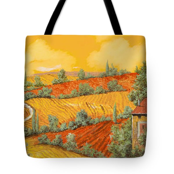 Tote Bag featuring the painting Bassa Toscana by Guido Borelli