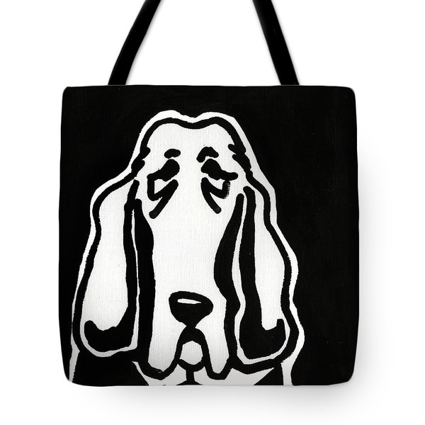 Tote Bag featuring the drawing Basset Hound Ink Sketch by Leanne WILKES