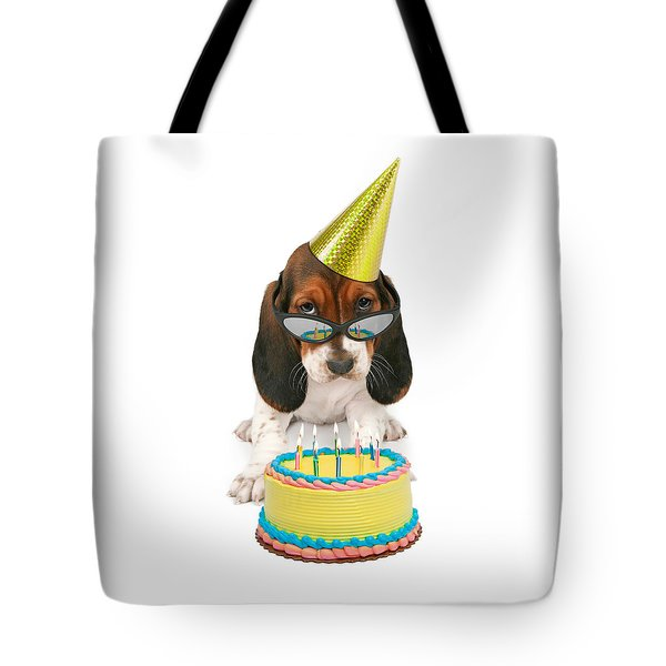 Basset Hound Puppy Wearing Sunglasses  Tote Bag