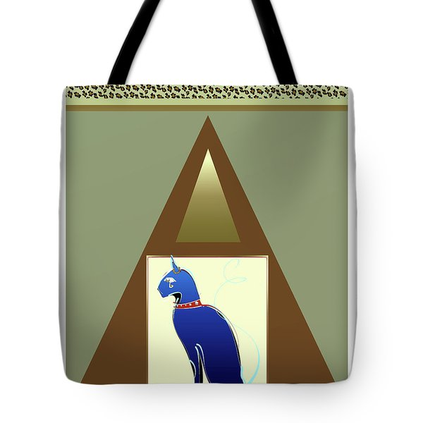 Tote Bag featuring the mixed media Bastet  by Larry Talley