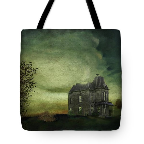 Tote Bag featuring the mixed media Bates Residence by Jim  Hatch