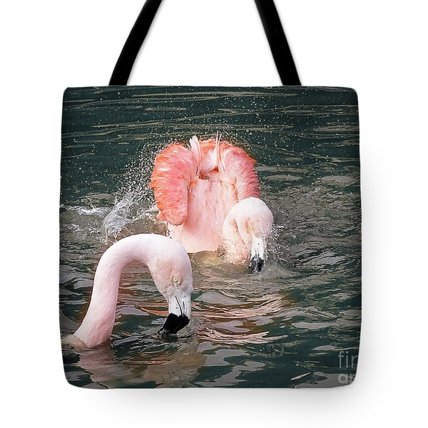 Bath Time For The Flamingos Tote Bag