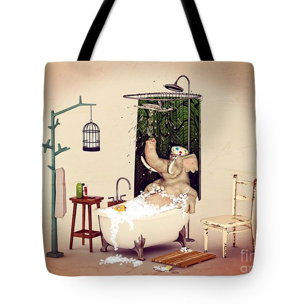 Tote Bag featuring the digital art Bath Time by Methune Hively