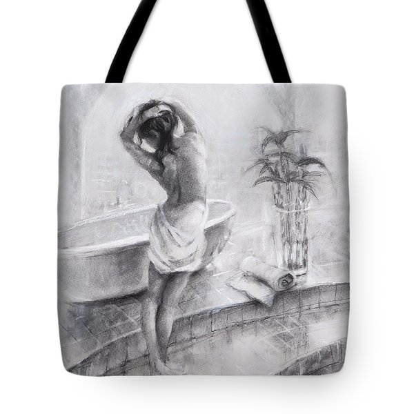 Tote Bag featuring the painting Bathed In Light by Steve Henderson