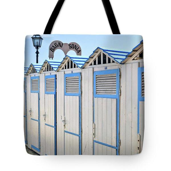 Bathhouses In The Mediterranean Tote Bag by Joana Kruse