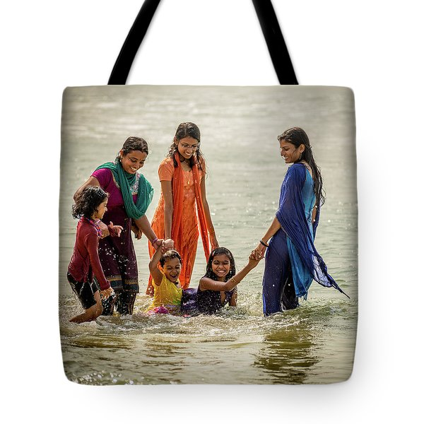 Bathing At Varkala II Tote Bag