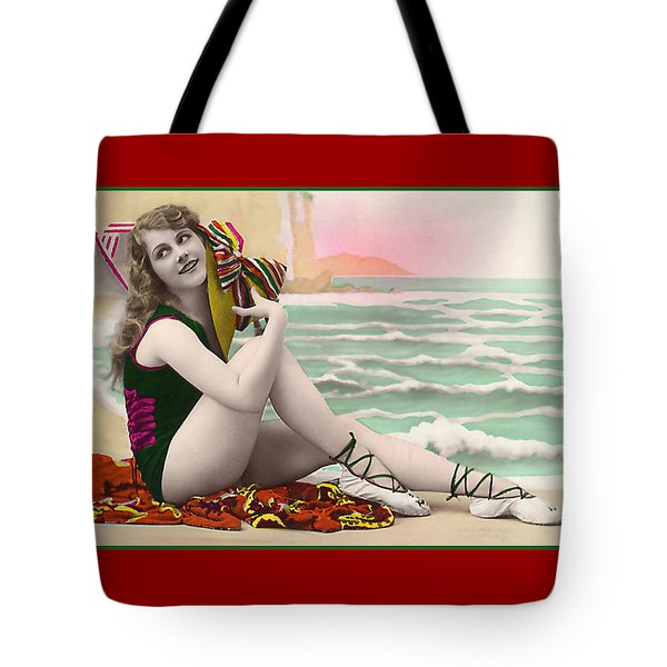 Bathing Beauty On The Shore Bathing Suit Tote Bag