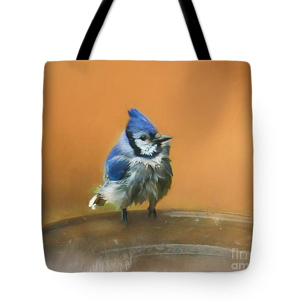 Bathing Blue Jay Tote Bag by Clare VanderVeen