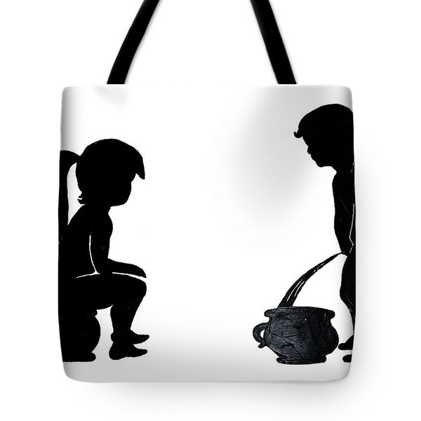 Bathroom Silhouettes Tote Bag by Sally Weigand