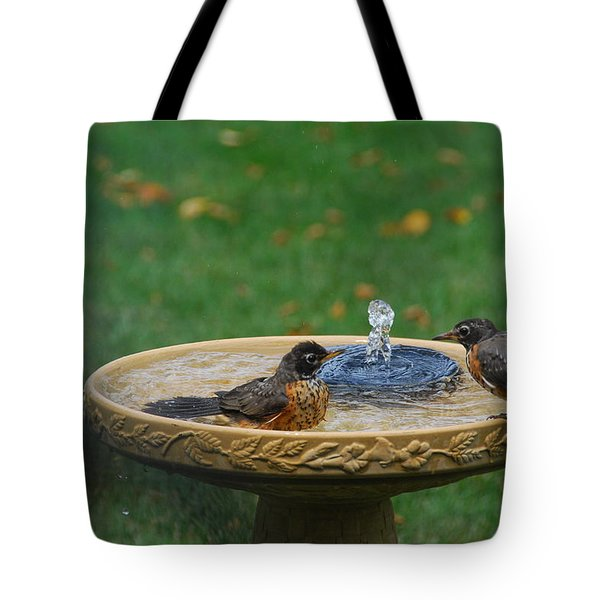 Bathtime In The Front Yard Tote Bag