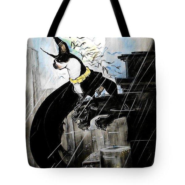 Batman Boston Terrier Caricature Art Print Tote Bag