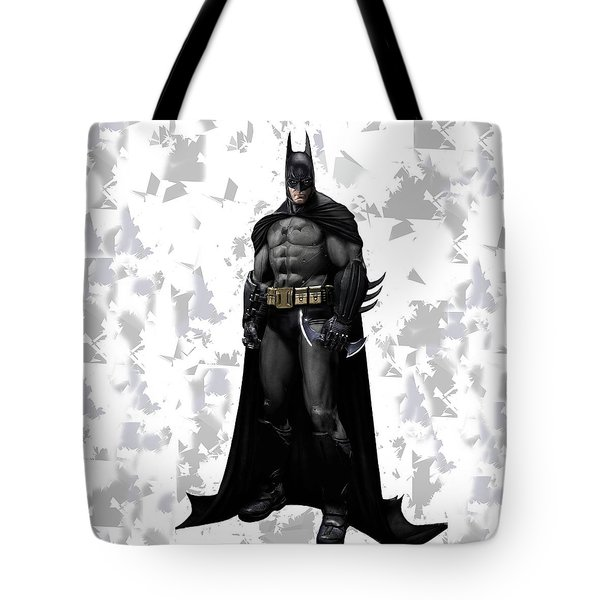 Tote Bag featuring the mixed media Batman Splash Super Hero Series by Movie Poster Prints