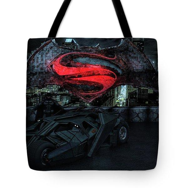 Tote Bag featuring the photograph Batman Versus Superman by Louis Ferreira