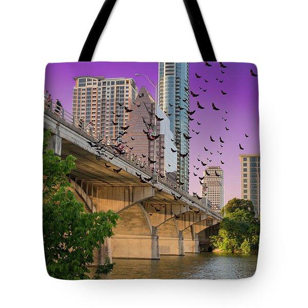 Bats Over Austin Tote Bag