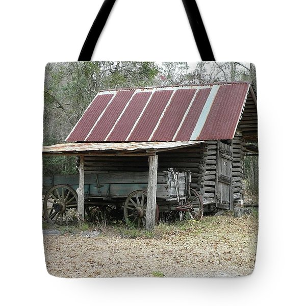 Battered Barn And Weathered Wagon Tote Bag by Al Powell Photography USA