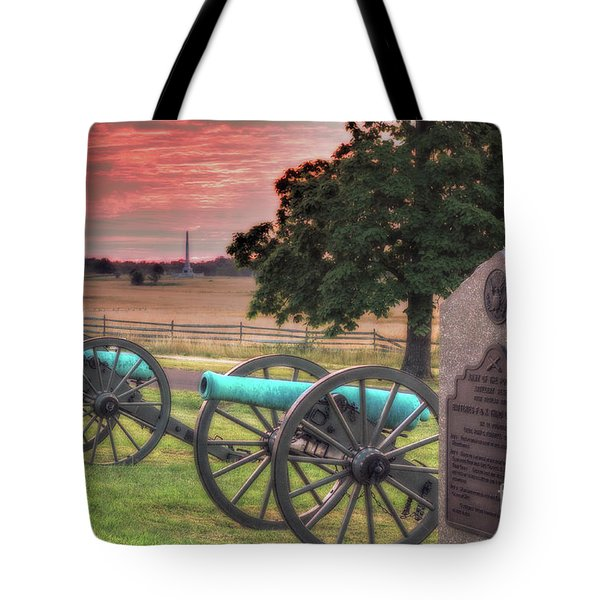 Battery F Cannon Gettysburg Battlefield Tote Bag by Randy Steele