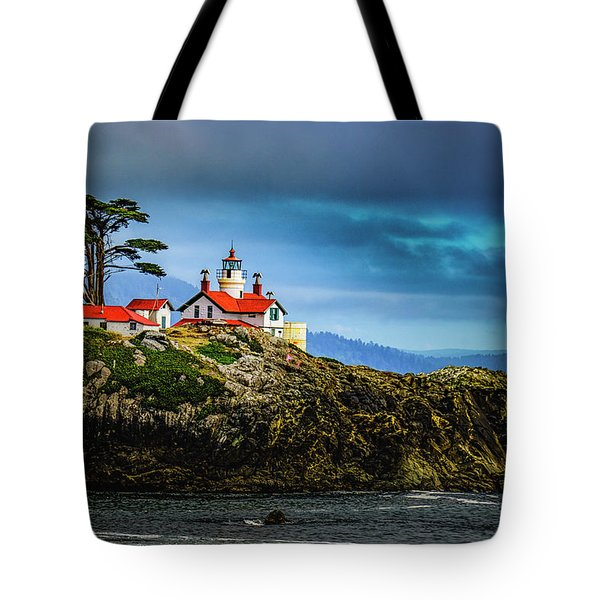 Battery Point Lighthouse Tote Bag by Janis Knight