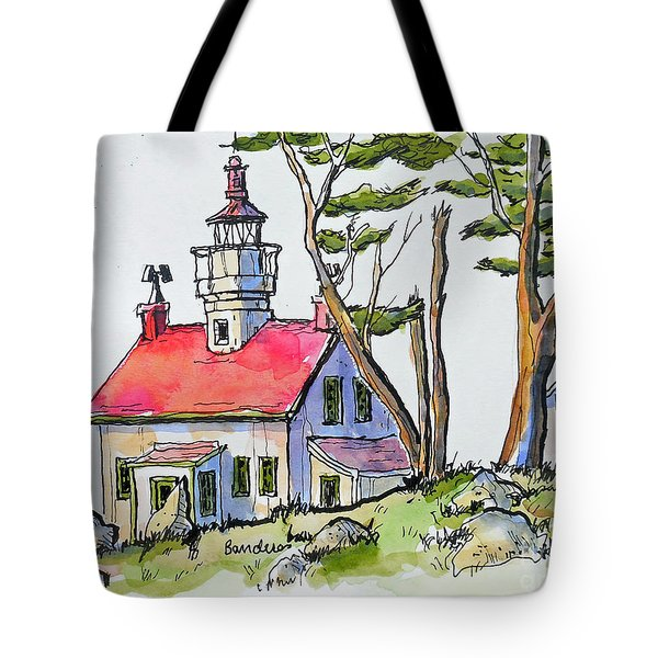 Tote Bag featuring the painting Battery Point Lighthouse by Terry Banderas
