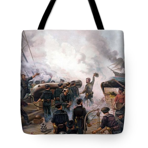 Battle Between Kearsarge And Alabama Tote Bag by War Is Hell Store