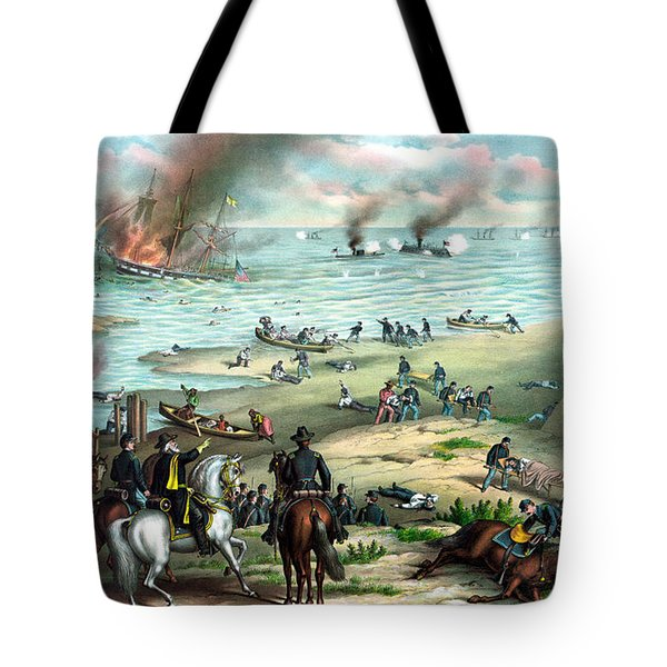 Battle Between The Monitor And Merrimac Tote Bag by War Is Hell Store