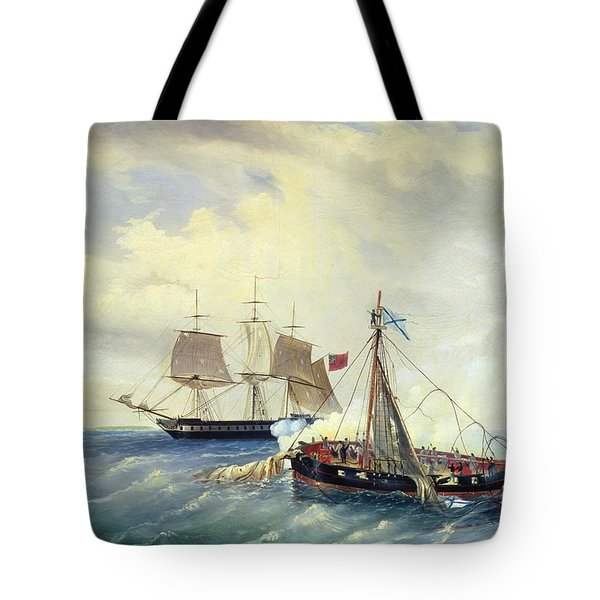 Battle Between The Russian Ship Opyt And A British Frigate Off The Coast Of Nargen Island  Tote Bag by Leonid Demyanovich Blinov