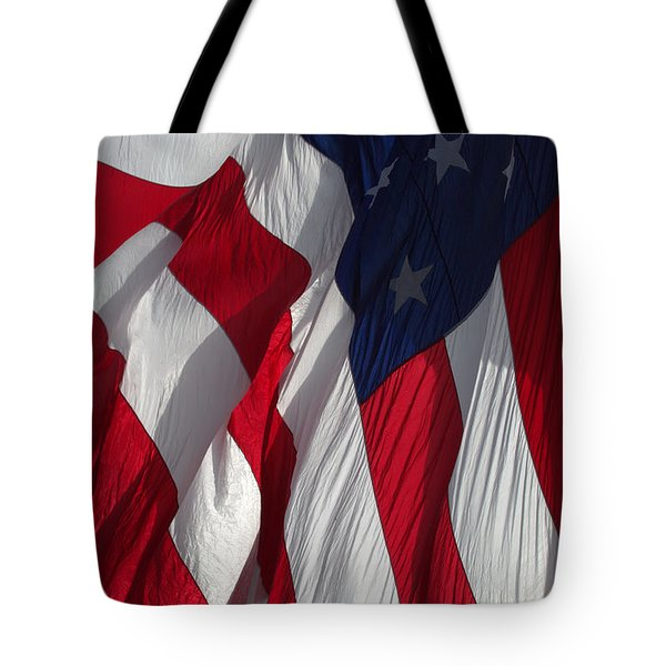 Battle Flag Flies Aboard Uss Cape St. George Tote Bag