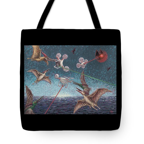 Battle Of Pterosaurs And Drones Tote Bag