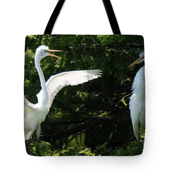 Battle Of The Egrets Tote Bag