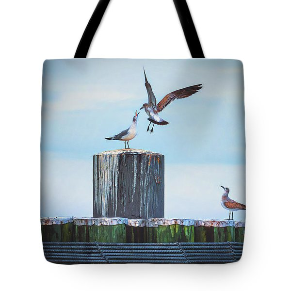 Battle Of The Gulls Tote Bag