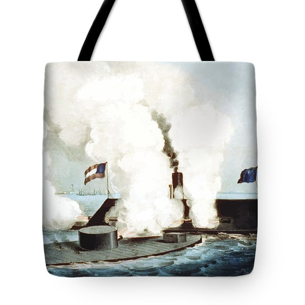Battle Of The Monitor And Merrimack Tote Bag by War Is Hell Store