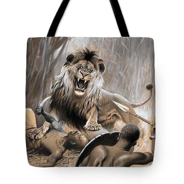 Battle With The Lion Tote Bag