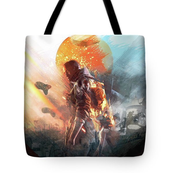 Tote Bag featuring the digital art Battlefield Poster by IamLoudness Studio