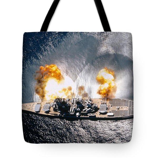 Battleship Iowa Firing All Guns Tote Bag by Stocktrek Images