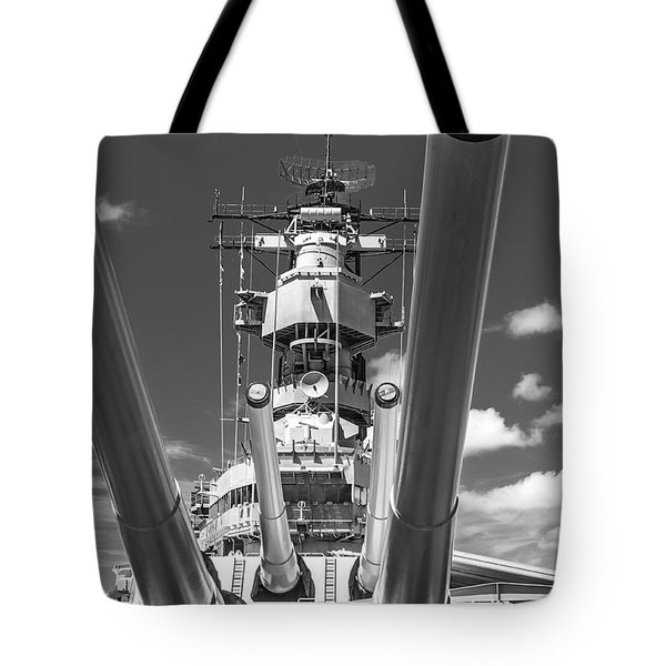 Tote Bag featuring the photograph Battleship Missouri by Colleen Coccia