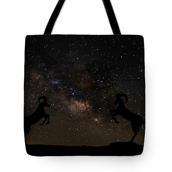 Battling Sheep Tote Bag by Scott Cunningham