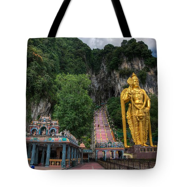 Batu Caves Tote Bag by Adrian Evans