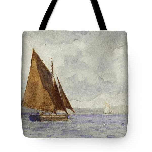 Tote Bag featuring the painting Bawley Running Up The Coast by Henry Scott Tuke