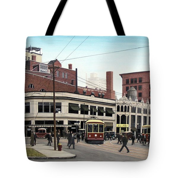 Tote Bag featuring the painting Bay And Queen Streets C1940 by Kenneth M Kirsch