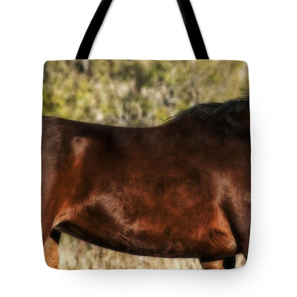 Tote Bag featuring the photograph Bay Arabian Mare by Karen Slagle