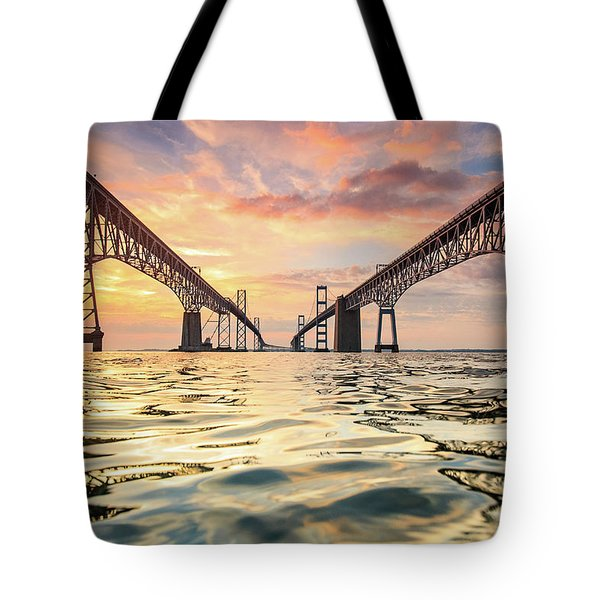 Tote Bag featuring the photograph Bay Bridge Impression by Jennifer Casey