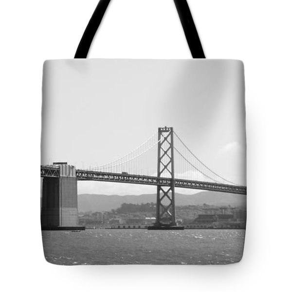 Bay Bridge In Black And White Tote Bag by Carol Groenen