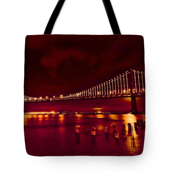 Tote Bag featuring the photograph Bay Bridge Lights by Kim Wilson