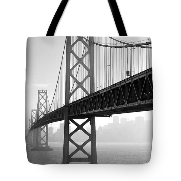 Bay Bridge San Francisco San Francisco - Black And White Tote Bag