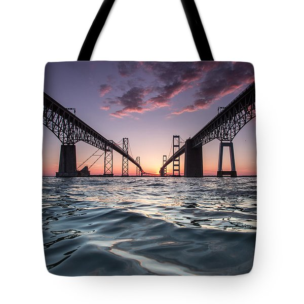 Tote Bag featuring the photograph Bay Bridge Twilight by Jennifer Casey