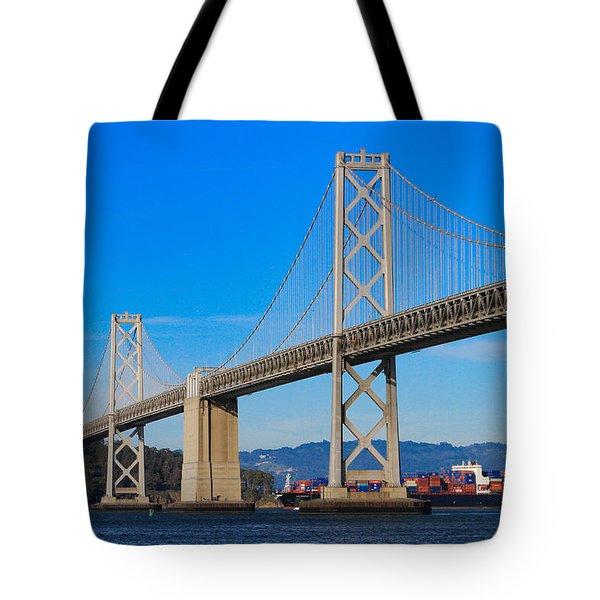Bay Bridge With Apl Houston Tote Bag