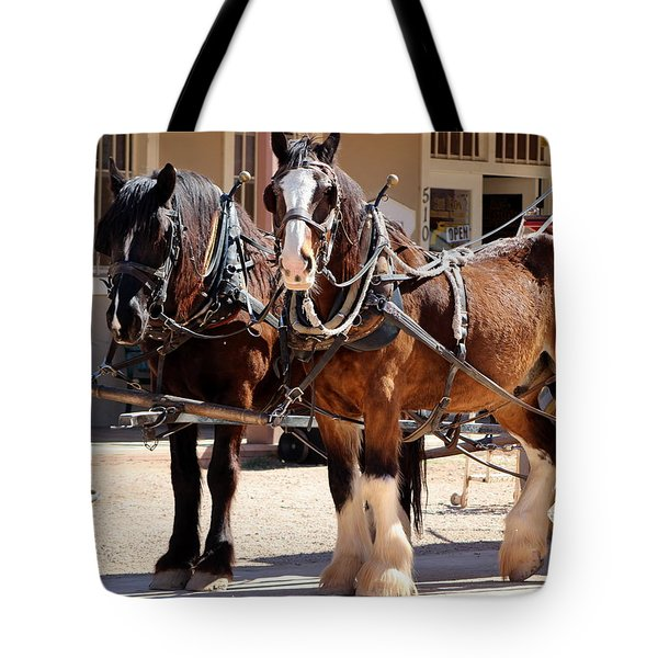 Bay Colored Clydesdale Horses Tote Bag